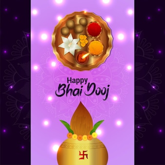 Happy bhai dooj celebration greeting card