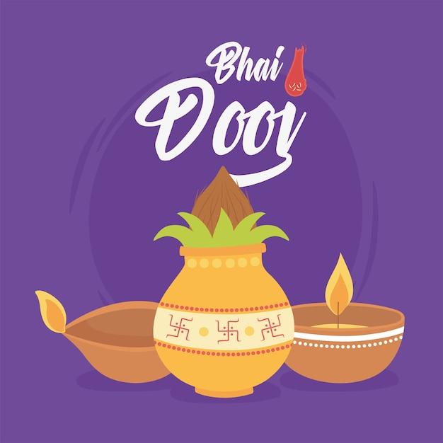 Счастливый бхаи дудж, церемония индийская семейная праздничная открытка иллюстрация