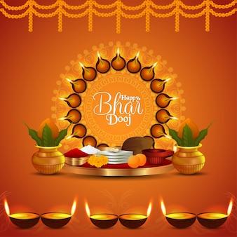 Happy bhai dooj creative puja thali and kalash and diya