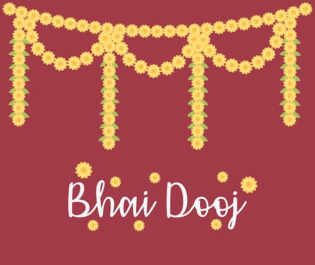 Happy bhai dooj, декоративный цветочный орнамент гирлянды, иллюстрация празднования индийской семьи