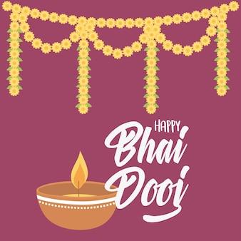 Счастливый бхаи дудж, свет лампы дия и цветочная гирлянда, иллюстрация празднования индийской семьи