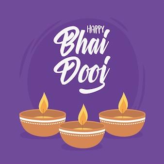 Happy bhai dooj, лампы diya со светом, иллюстрация празднования индийской семьи