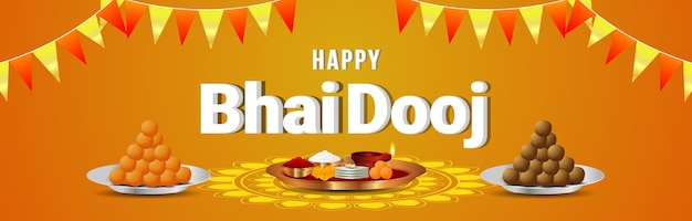 Happy bhai dooj festival celebration card or banner with puja thali