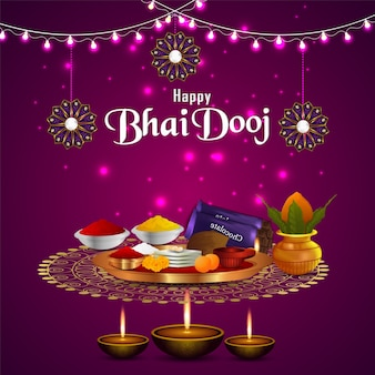Happy bhai dooj festival celebration card with puja thali