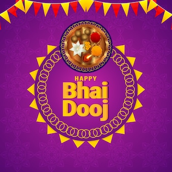Happy bhai dooj festival of indian family celebration