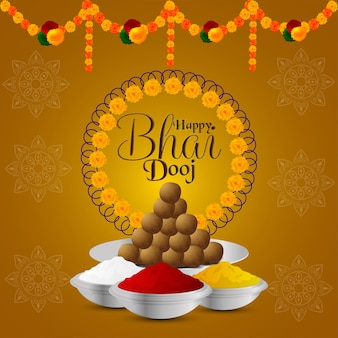Happy bhai dooj festival of indian family with creative puja thali