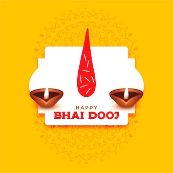 Happy bhai dooj greeting with tilak and diya background
