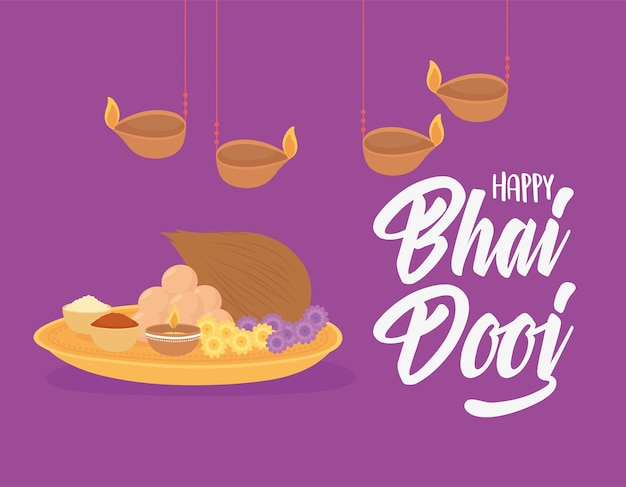 Счастливый бхаи дудж, подвесные лампы, еда, индийский семейный праздник, фиолетовый фон иллюстрации