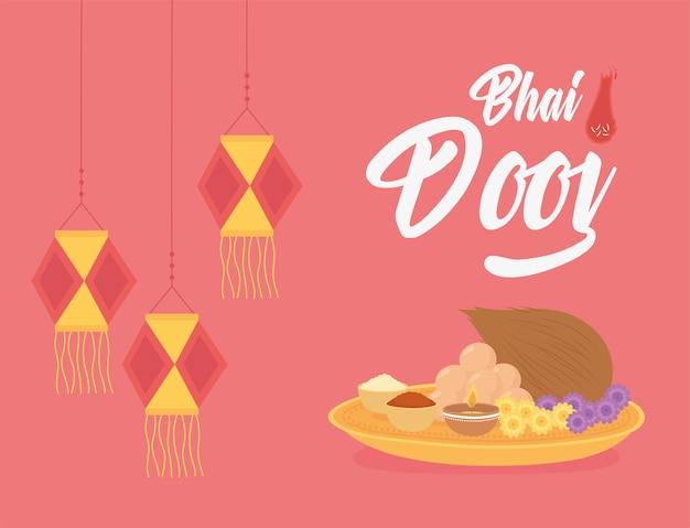 Happy bhai dooj, hanging lanterns and food traditional, indian family celebration illustration