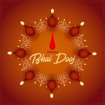 Happy bhai dooj illustration with diya decoration