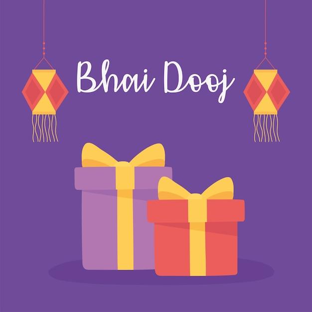 Счастливый бхаи дудж, индийские семейные праздничные подарки и иллюстрации поздравительной открытки фонари