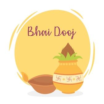 Счастливый бхаи дудж, индийское семейное торжество, отношения сестер и братьев, иллюстрация