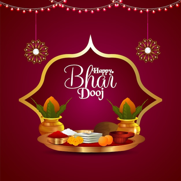 Happy bhai dooj indian festival celebration with puja thali and kalash