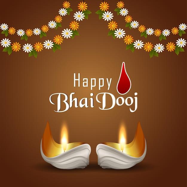 Happy bhai dooj indian festival invitation with diwali diya
