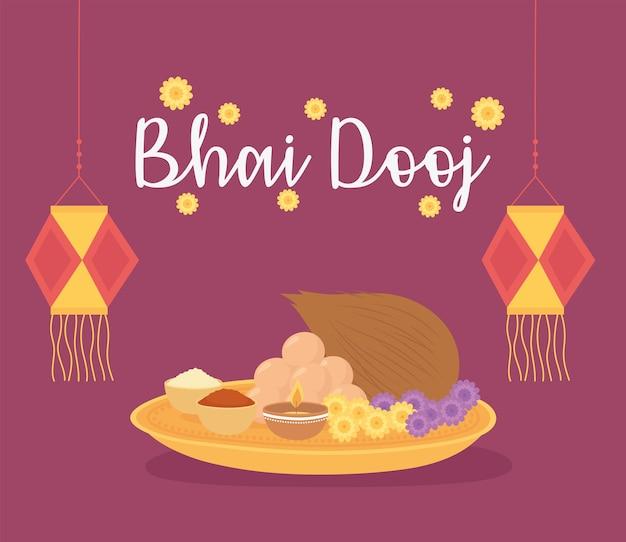 Happy bhai dooj, inscription lanterns flowers and traditional food, indian family celebration illustration