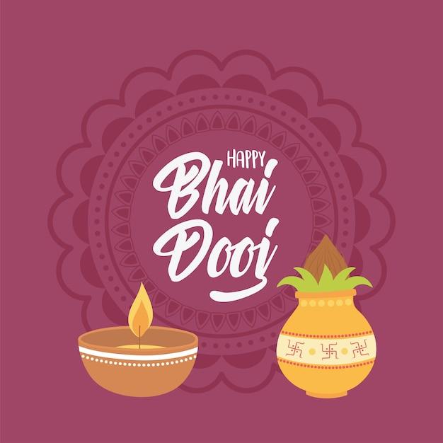 Happy bhai dooj, lettering card light and food indian family celebration illustration