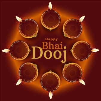 Happy bhai dooj traditional diya decoration background vector