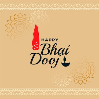 Happy bhai dooj traditional indian festival card vector