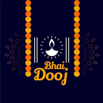 Happy bhai dooj wishes illustration traditional