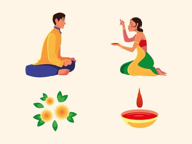 Счастливый бхаи дудж с индийскими мужчинами и женщинами, мультяшными рисовальщиками и дизайном чаш, фестивалем и праздничной темой