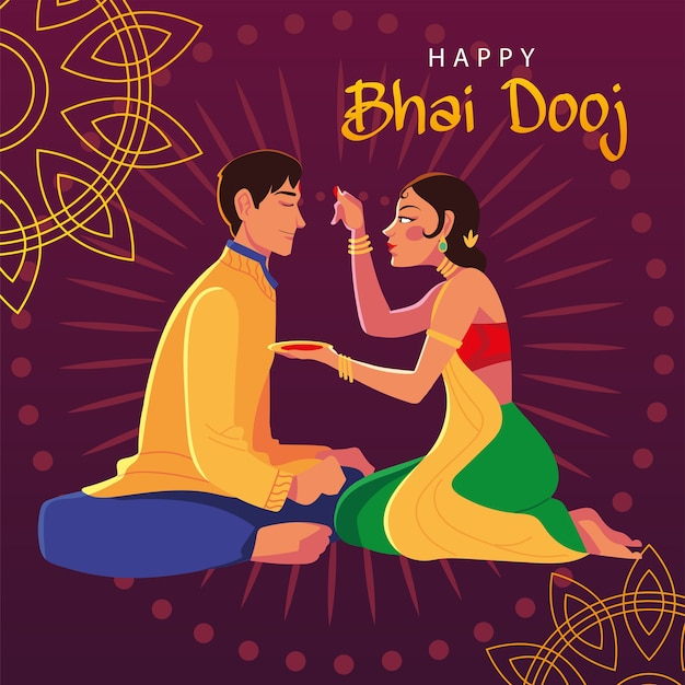 Happy bhai dooj with indian man and woman cartoon design, festival and celebration theme