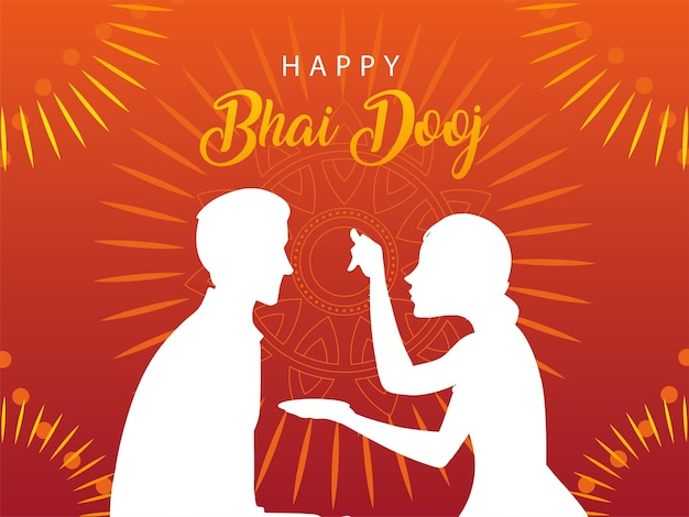 Happy bhai dooj with indian woman and man silhouette design, festival and celebration theme