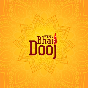 Happy bhai dooj yellow decorative illustration