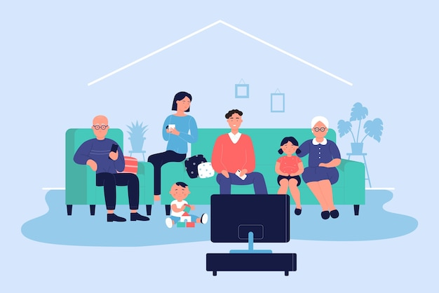 家のイラストで幸せな大家族。大人のキャラクターと子供が一緒にソファーに座って、リビングルームでテレビのニュースや映画を見ています。家族は夜の時間の背景でリラックス