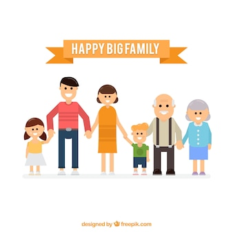 Happy big family background