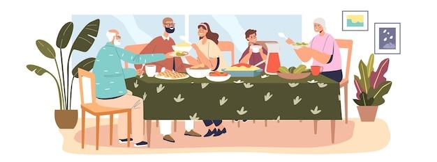 행복한 대가족이 함께 저녁 식사를 하고, 부모, 아이, 조부모가 축제 식사를 위해 할머니와 할아버지 집에 모입니다. 만화 평면 벡터 일러스트 레이 션