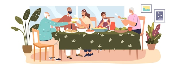 Happy big family having dinner together, parents, kid and grandparents gathering at senior grandma and grandpa house for festive meal. cartoon flat vector illustration