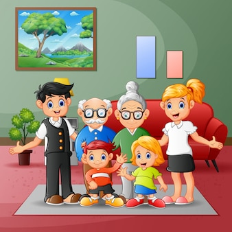 Happy big family members gathered together at home
