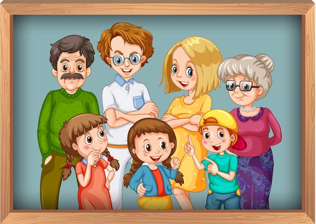 Happy big family photo on wooden frame