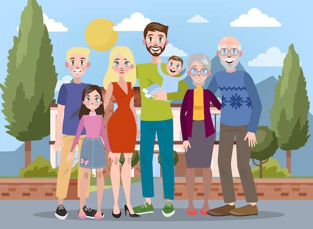 Счастливый большой семейный портрет. мама и папа, дети и их бабушки и дедушки. иллюстрация