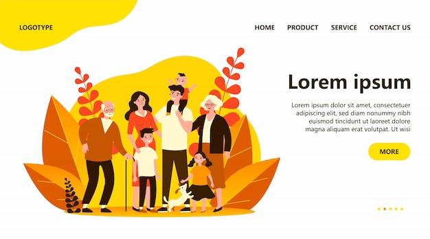 Счастливая большая семья, стоя вместе плоская иллюстрация