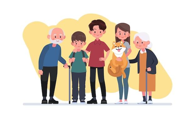 Happy big family standing together flat illustration.