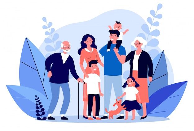 Happy big family standing together   illustration
