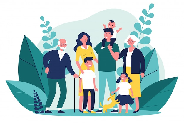 Happy big family standing together   illustration
