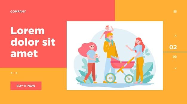 Счастливая большая семья гуляет вместе. мать, ребенок, отец плоские векторные иллюстрации. дизайн веб-сайта или целевая веб-страница концепции отцовства и отношений