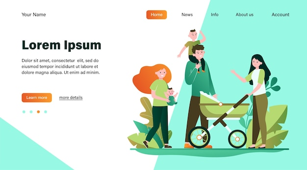 Grande famiglia felice che cammina insieme. madre, bambino, illustrazione vettoriale piatto del padre. progettazione di siti web di concetto di genitorialità e relazione o pagina web di destinazione