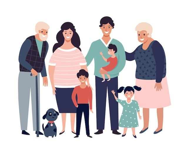 부모 자녀와 조부모가 함께 서 있는 행복한 대가족