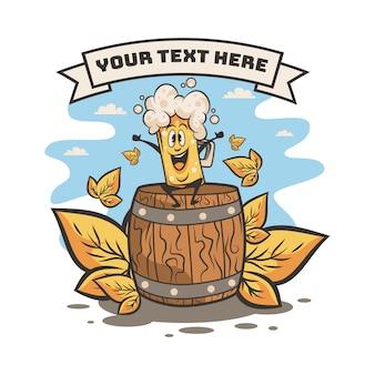 Happy big mug of beer with barrel illustration