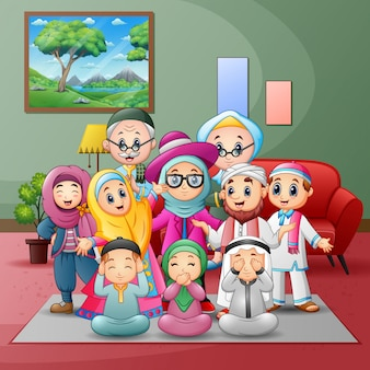 Happy big muslim family members gathered together at home