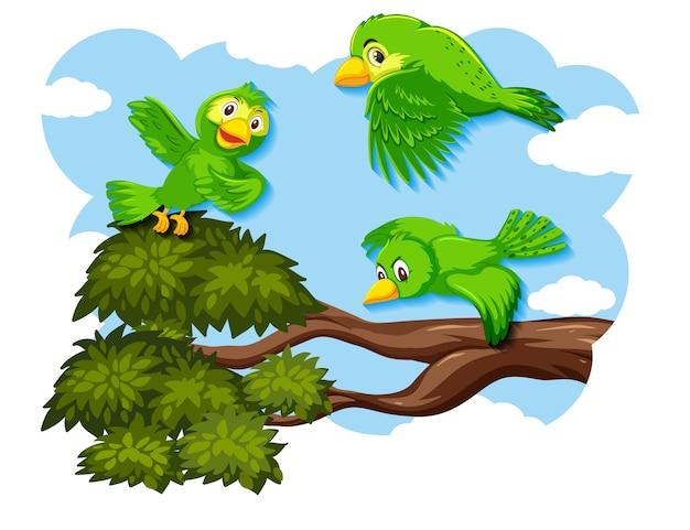 Счастливая птица, летящая на природе