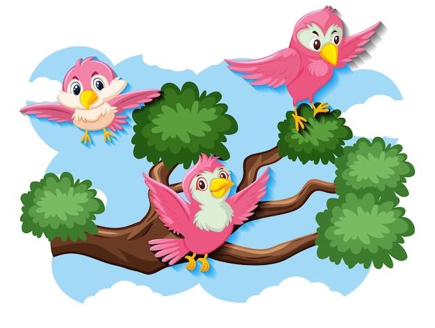 自然の中を飛んでいる幸せな鳥