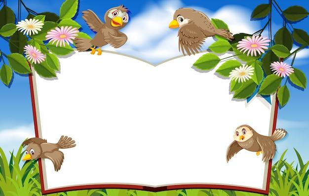 自然の背景の空白のバナーで幸せな鳥