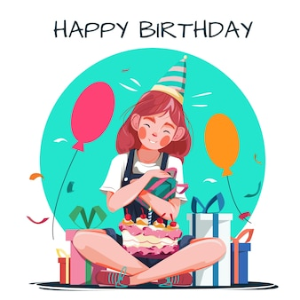 幸せな誕生日のイラスト