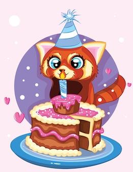 Happy birth daycard cute raccoon