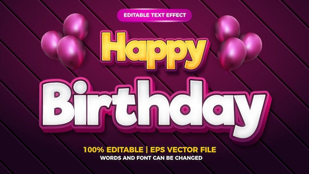 Happy birthday 3d editable text effect cartoon bold style template