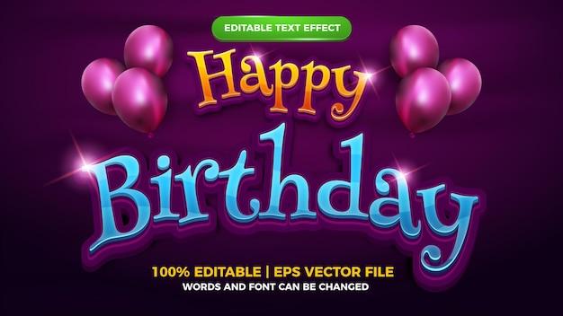Happy birthday 3d editable text effect cartoon fantasy style template